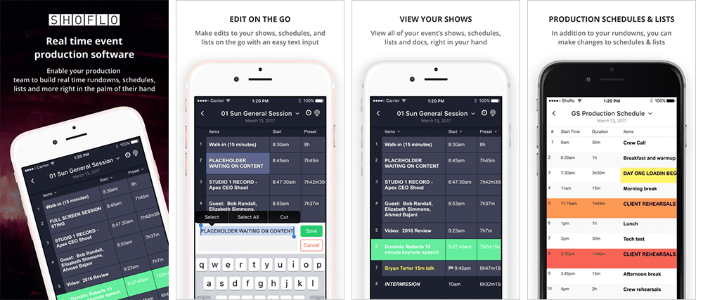 Screenshots of the Shoflo iOS App